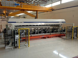 The very first 'next generation' Atlas CW1040 primary film slitter installed at Tri-Pack Films, Pakistan