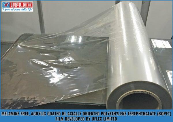 melamine-free, acrylic-coated bopet film