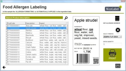 EU food allergen labeling solution