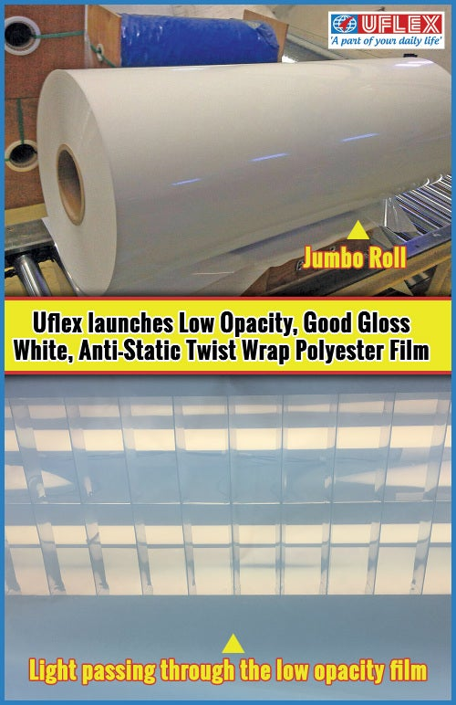 Uflex Launches Low-Opacity, Good Gloss White, Anti-Static Twist Wrap Polyester Film