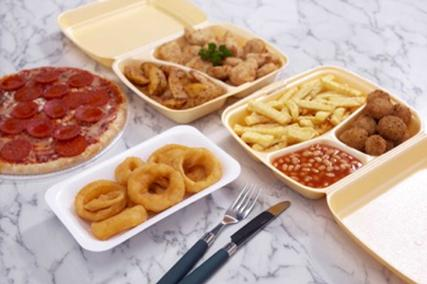 hot food in polystyrene containers