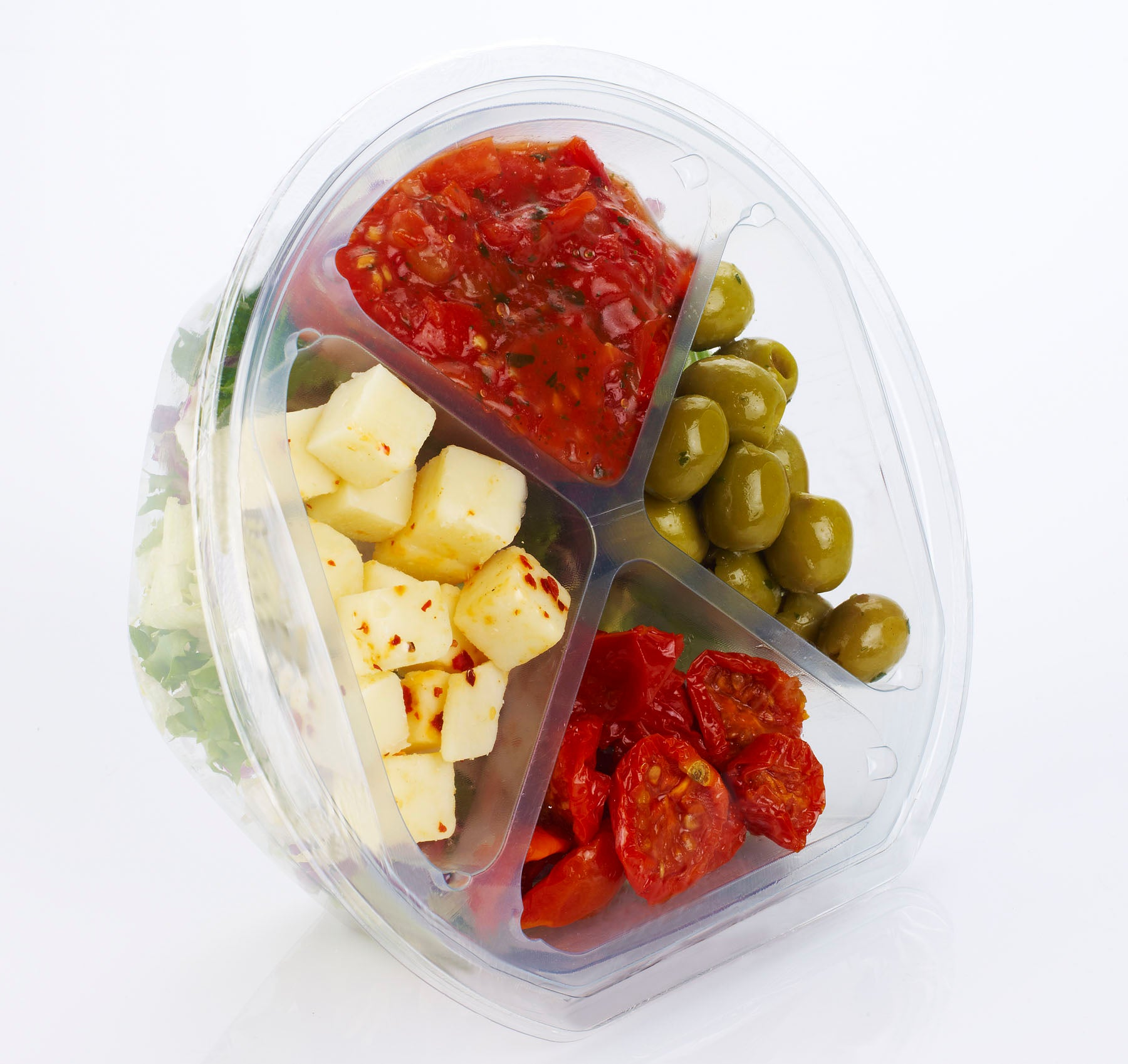 salad container with different compartments