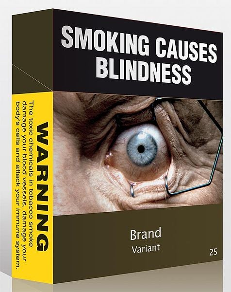 Proposed plain packaging cigarette container design
